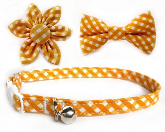 Gingham cat puppy collar/ Sunshine yellow plaid matching collar bow tie flower set/ chrome yellow checks collar/yellow plaids collar