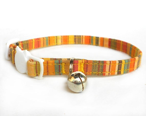Multicolor handwoven cotton striped orange yellow cat collar/Ethnic tribal Indian textile puppy handwoven collar/ spring summer cat collar