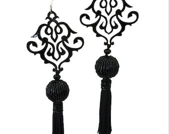Beaded ball acrylic chandelier earrings