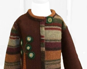 Kid's upcyled felted wool jacket size 2T-3T