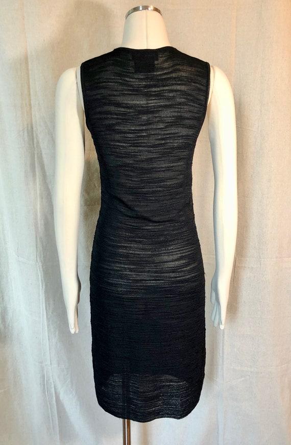 90s Textured Knit Little Black Dress S/M - image 5