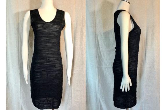 90s Textured Knit Little Black Dress S/M - image 1