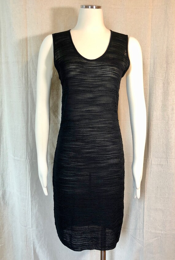 90s Textured Knit Little Black Dress S/M - image 2