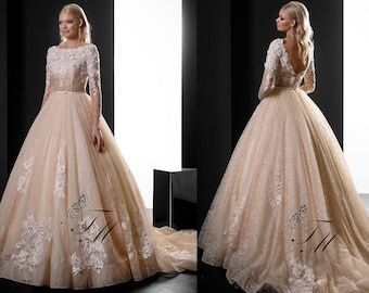 8c06859aa142 Beige lace wedding dress made of shiny tulle, 3D lace corset with long  sleeves, open lace back with buttons, skirt with long lace train
