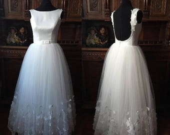 Wedding dresses, Minimalistic,Satin wedding dress,Sexy wedding dress,Beach wedding dress,Romantic Dress,Illusion Lace,3DLace butterfly