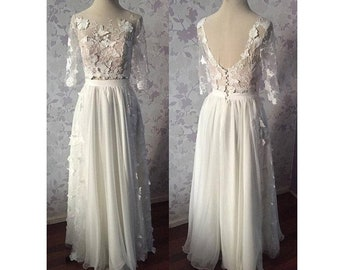 Shoulder Baring Lace Embellished Boho Wedding Dress satin skirt,Lace Transparent Back with Buttons,Long Train,Long Lace Sleeves,A-Line ,