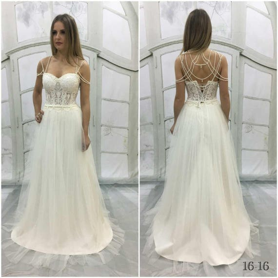 5c35056760 Vintage Inspired WeddingDress with Bustier Bridal Corset