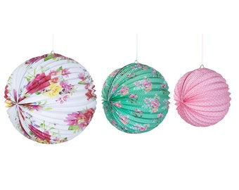 3 paper lanterns - flower design