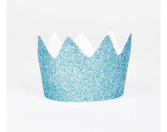 8 blue glitter crowns - Party Party - to disguise as a princess