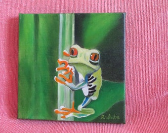 Frog. Original oil painting of a Quirky little chap.
