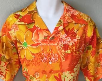 b06408c56ffbd 1970s JCPenney Towncraft Hawaiian mens shirt