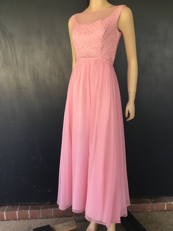 1960s pink chiffon gown