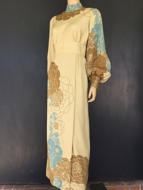 1960s Travilla Cream, tan and brown with Lurex  go