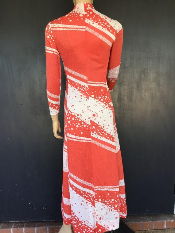 1970s orange and white Riviera Fashions maxi dress
