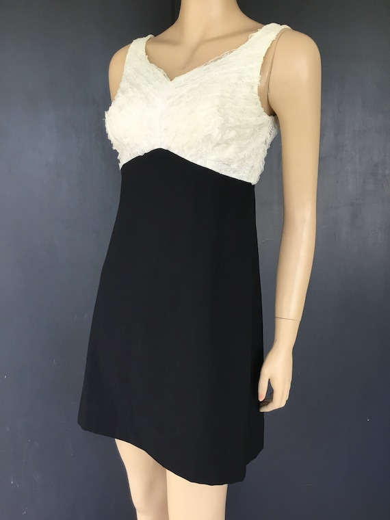 1960s white and black Vicky Vaughn dress