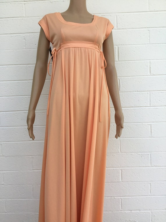 1970s polyester maxi dress