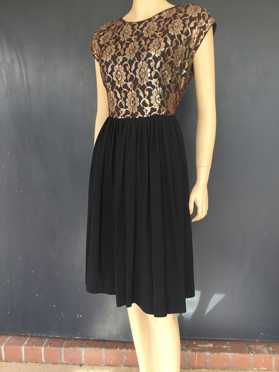 1960s Mode O Day metallic lace dress