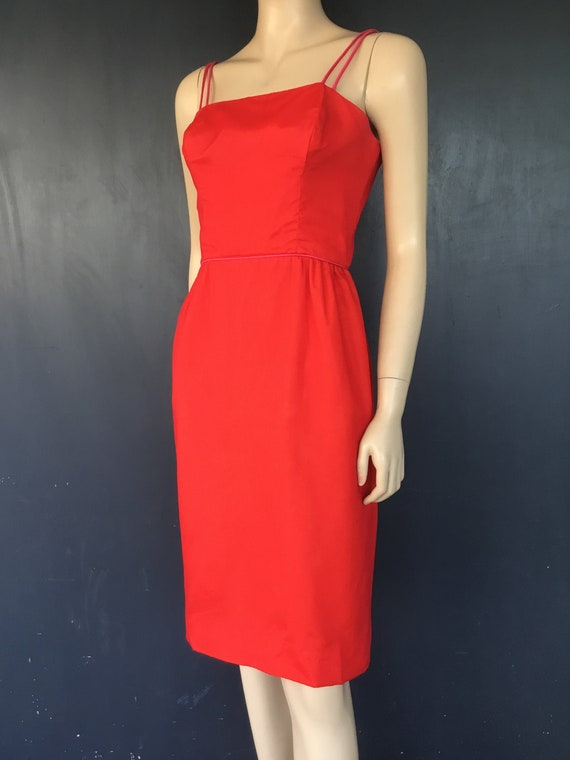 1960s  Minx Modes red chiffon cocktail dress - image 1