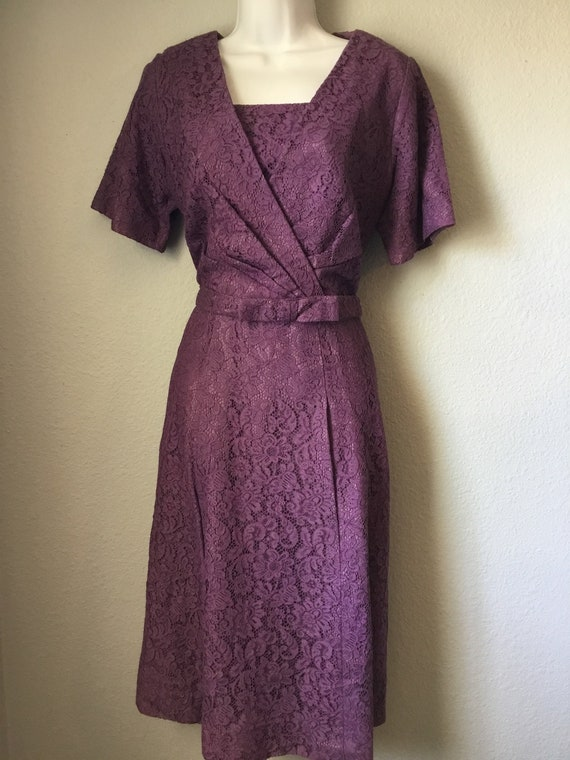 1950s vintage lavender lace dress