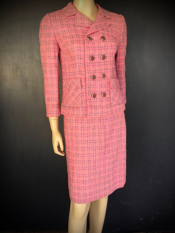 1960s pink wool suit