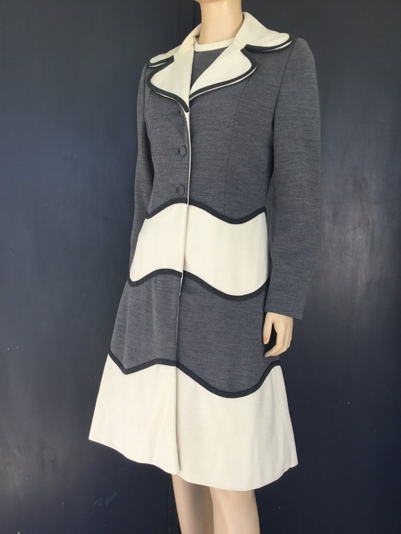 1960s Lilli Ann cream and gray dress with jacket
