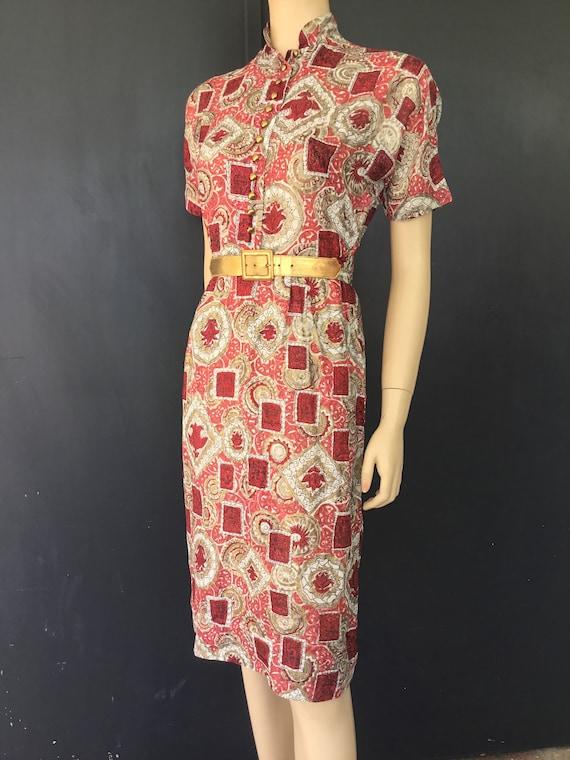 1950s Junior Towne Milwaukee silk dress