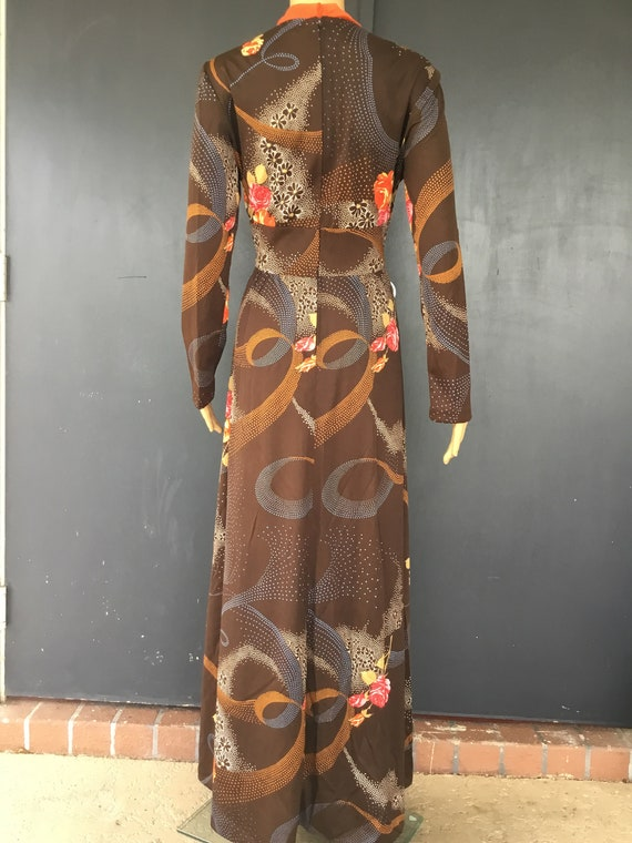 1970s polyester maxi dress - image 4