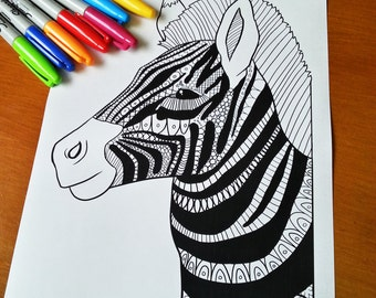 Adult Zentangle Coloring Sheet Zebra