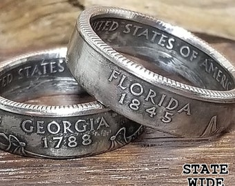 US State Quarter Coin Ring ANY STATE! Sizes 6-12