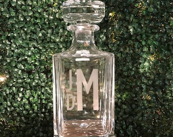 Decanter with custom etching - by hand
