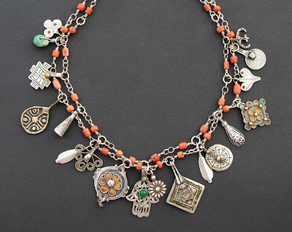 Ethnic chic Berber coral and silver charm necklace