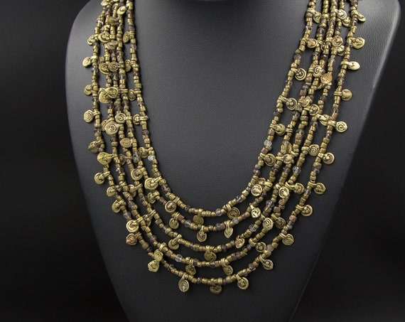 Orissa, India brass and smoky quartz gemstone multi-strand necklace