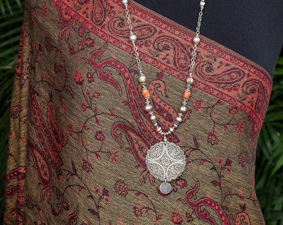 Moroccan pendant necklace with coral & sterling silver chain