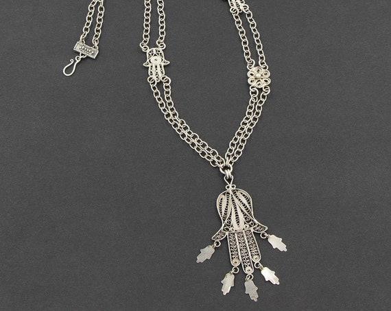 Long silver filigree hamsa hand pendant necklace