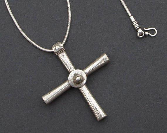 Antique silver Ethiopian cross necklace