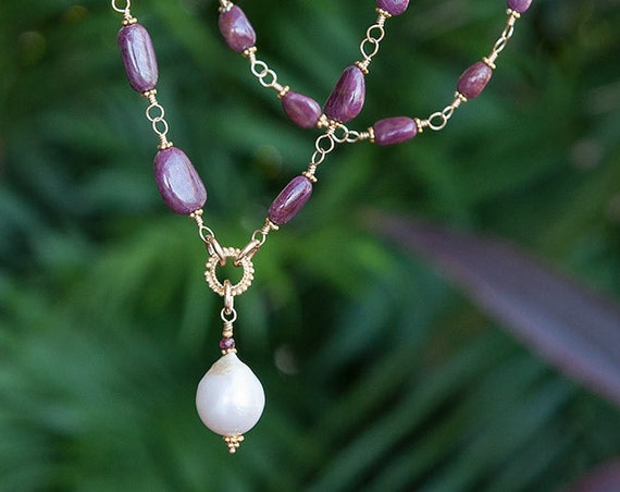 African ruby necklace with baroque pearl pendant