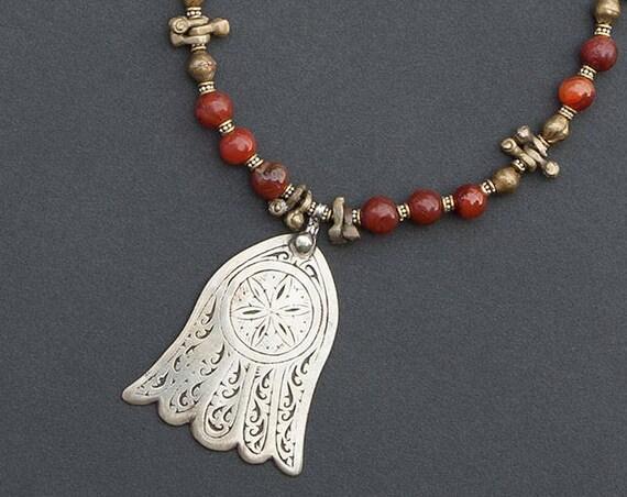 Carnelian bead necklace & Hamsa pendant