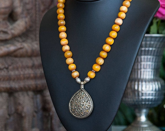 Berber silver enamel pendant necklace with Phenolic resin amber beads