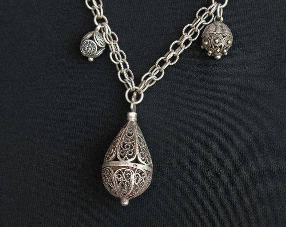 Vintage silver filigree perfume pendant necklace