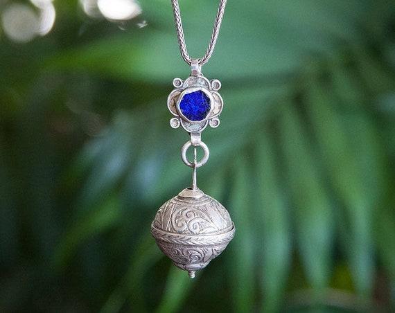 Berber silver perfume pendant necklace