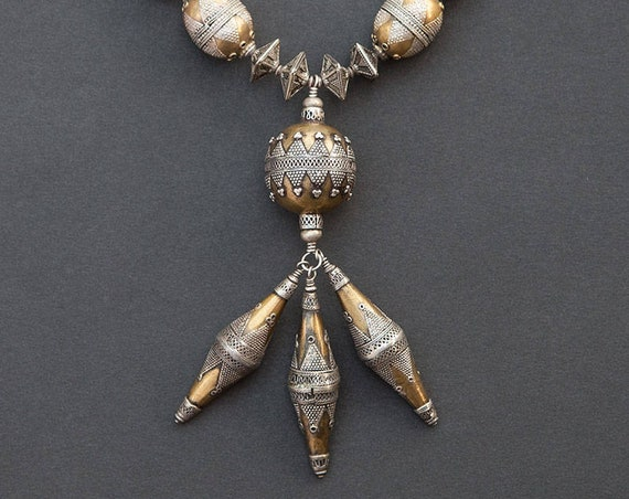 Turkmen gilded silver bead necklace