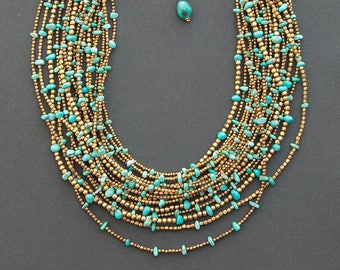 Turquoise necklace | multi strand statement necklace | Kingman turquoise | brass & turquoise necklace | turquoise beaded necklace