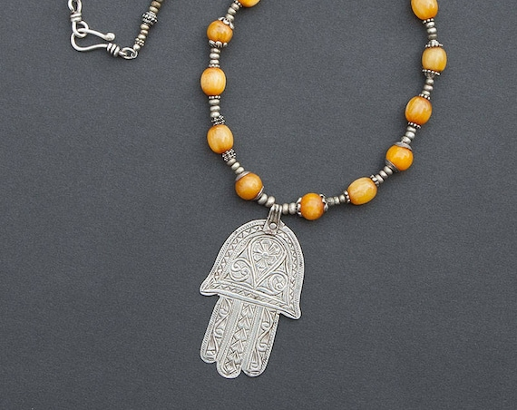 African resin amber bead necklace with Berber hamsa