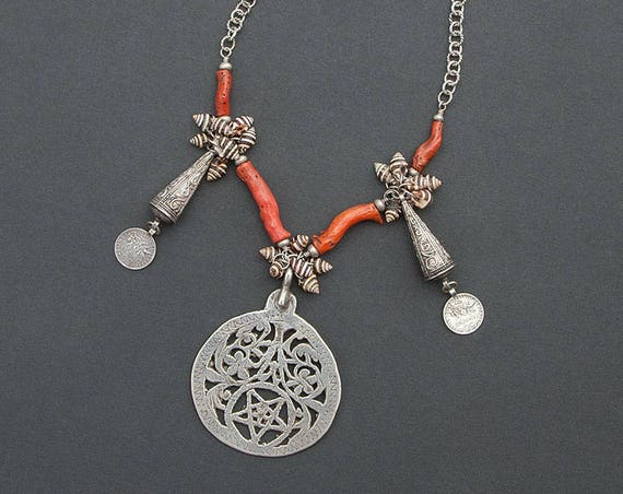 Tunisian Pendant with Antique Coral, and Mauritanian Zebra Shells