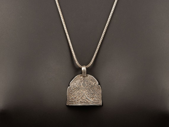 Moroccan silver pendant necklace | vintage sterling silver chain | antique silver tribal pendant | silver layering necklace | long necklace