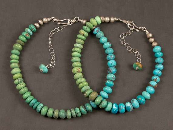 Tibetan turquoise necklaces | graduated turquoise rondelles | blue green turquoise bead necklaces | turquoise statement necklaces