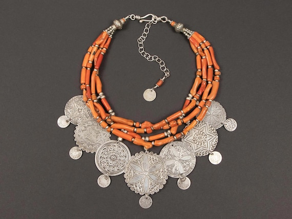 Spectacular ethnic statement necklace | antique silver Berber headdress ornaments with antique Moroccan branch coral & Berber coins