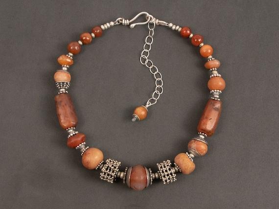 Carnelian bead & Yemen silver statement necklace | ancient Afghan carnelian bead with granulated silver Yemen beads | modern ethnic jewelry