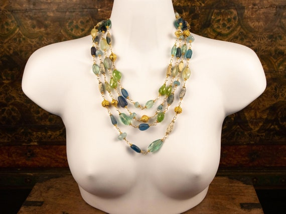 Long beaded gemstone necklaces | set of 2 green & blue aquamarine, garnet, and fluorite gemstone and ancient glass bead layering necklaces