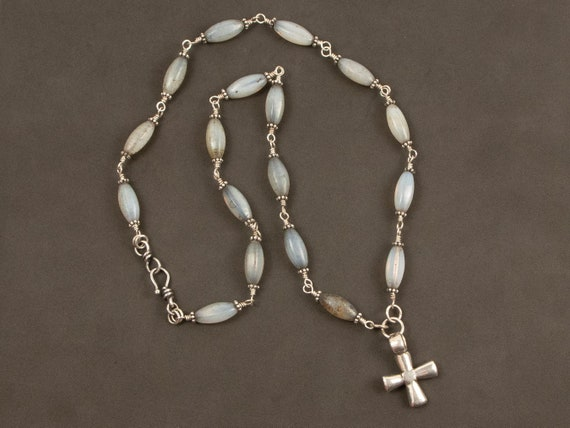 Ethiopian cross necklace | long cross necklace with antique opaline glass beads | blue glass trade bead and silver cross pendant necklace